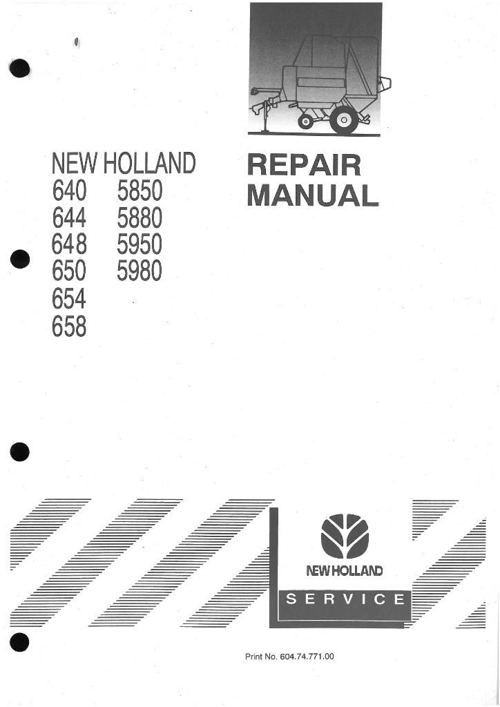 new holland round baler 640 644 648 650 654 658 5850 5880 5950 5980 rh agrimanuals com Old New Holland Balers new holland 644 round baler service manual